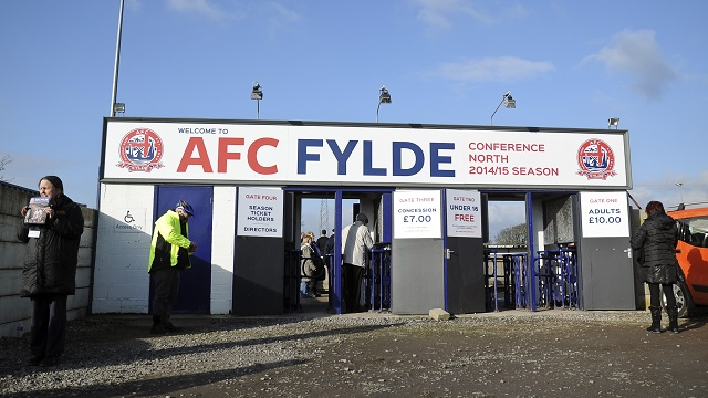 General view of Kellamergh Park entrance - AFC Fylde vs Harrogate Town - Vanarama Conference North match at Kellamergh Park, Warton, Lancashire - 14/02/15 - MANDATORY CREDIT: Greig Bertram/AGBPHOTO - Self billing applies where appropriate - info@agbphoto.co.uk - NO UNPAID USE